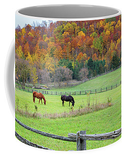 Horses Contentedly Grazing In Fall Pasture Coffee Mug