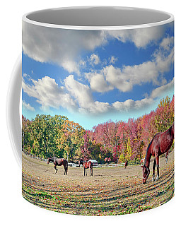 Horses Grazing At A Stable In Maryland Coffee Mug
