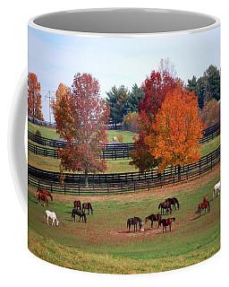 Coffee Mug featuring the photograph Horses Grazing In The Fall by Sumoflam Photography