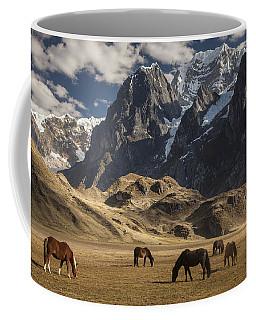 Horses Grazing Under Siula Grande Coffee Mug