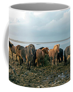 Coffee Mug featuring the photograph Horses In Iceland by Dubi Roman