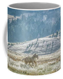 Horses In The Frost Coffee Mug by Keith Boone