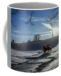 Horses In The Snow Coffee Mug