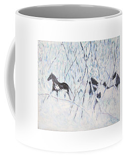 Horses Running In Ice And Snow Coffee Mug