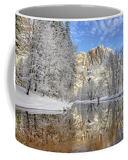 Horsetail Fall Reflections Winter Yosemite National Park Coffee Mug