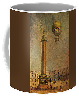Coffee Mug featuring the digital art Hot Air Balloon Over St Petersburg And The Hermitage by Jeff Burgess