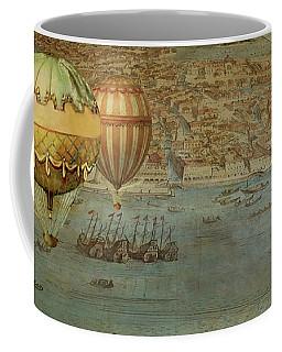 Coffee Mug featuring the digital art Hot Air Baloons Over Venus by Jeff Burgess