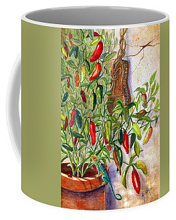 Coffee Mug featuring the painting Hot Sauce On The Vine by Marilyn Smith
