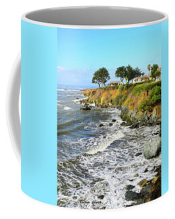Coffee Mug featuring the photograph House On The Point Cayucos California by Barbara Snyder