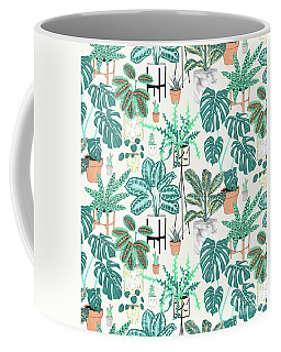House Plants Teal Coffee Mug
