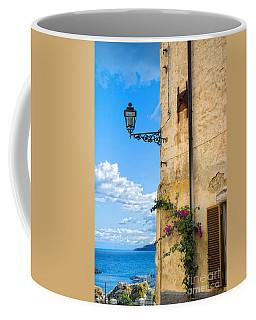 House With Bougainvillea Street Lamp And Distant Sea Coffee Mug