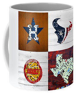 Houston Sports Fan Recycled Vintage Texas License Plate Art Astros Texans Rockets And State Map Coffee Mug