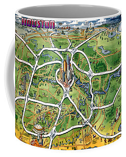 Houston Texas Cartoon Map Coffee Mug