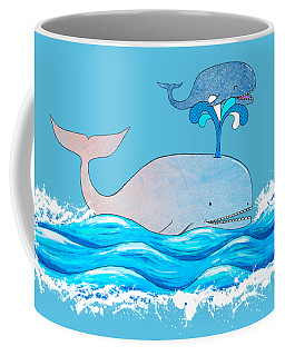 Coffee Mug featuring the mixed media How Whales Have Fun by Shawna Rowe