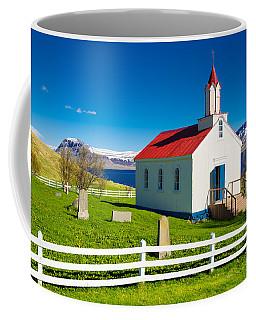 Coffee Mug featuring the photograph Hrafnseyri Church In Iceland by Matthias Hauser