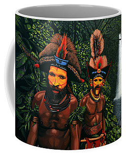 Huli Men In The Jungle Of Papua New Guinea Coffee Mug