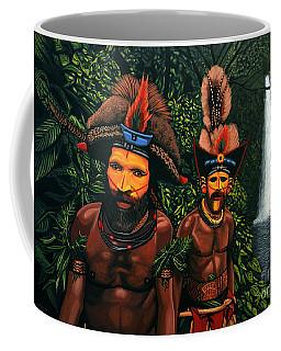 Huli Men In The Jungle Of Papua New Guinea Coffee Mug