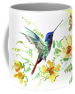 Hummibgbird And Yellow Flowers Coffee Mug
