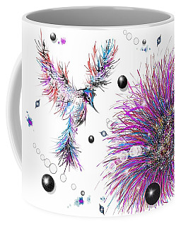 Coffee Mug featuring the digital art Humming Bird And Flower by Darren Cannell