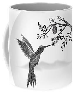 Coffee Mug featuring the digital art Hummingbird On Oval by Vincent Autenrieb