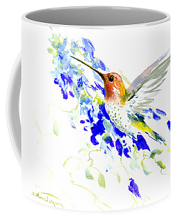 Hummingbird And Blue Flowers Coffee Mug