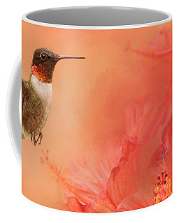 Hummingbird And Peach Hibiscus Coffee Mug