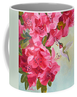Hummingbird And Pink Azaleas Coffee Mug