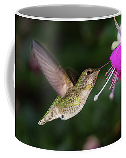 Coffee Mug featuring the photograph Hummingbird And Queen Fuchsia by William Lee