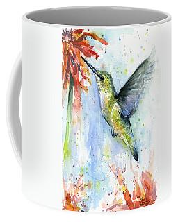 Hummingbird And Red Flower Watercolor Coffee Mug