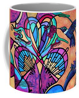 Hummingbird And Stained Glass Hearts Coffee Mug by Lori Miller