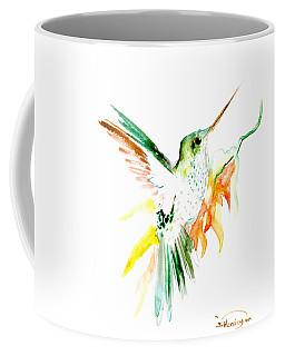 Hummingbird Green Orange Red Coffee Mug