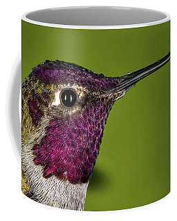 Coffee Mug featuring the photograph Hummingbird Head Shot With Raindrops by William Lee