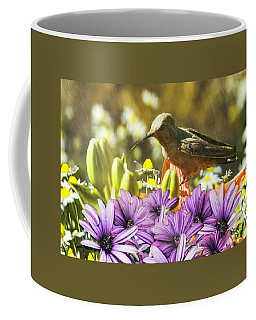 Coffee Mug featuring the photograph Hummingbird In The Spring Rain by Diane Schuster