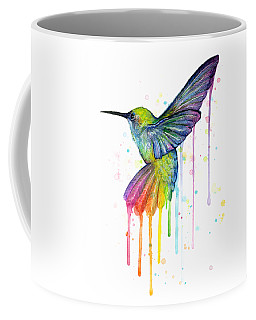 Hummingbird Of Watercolor Rainbow Coffee Mug