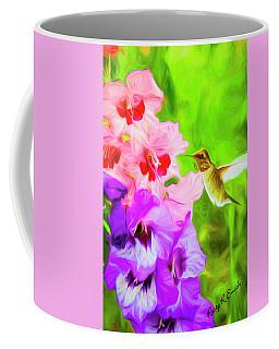 Hummingbird On Gladiolas. Coffee Mug