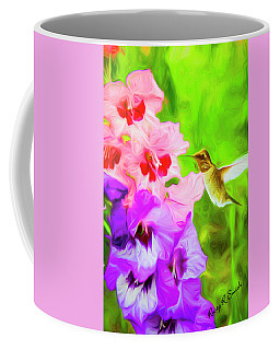 Hummingbird On Gladiolas. Coffee Mug