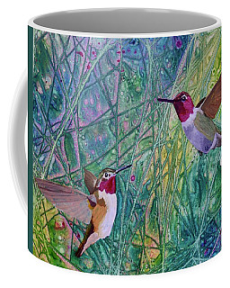 Coffee Mug featuring the painting Hummingbird Pair by Nancy Jolley
