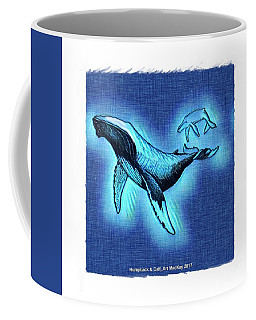 Coffee Mug featuring the digital art Humpback And Calf by Art MacKay
