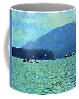 Humpback Whales Bubble Net Fishing Juneau Alaska Coffee Mug by Rebecca Korpita