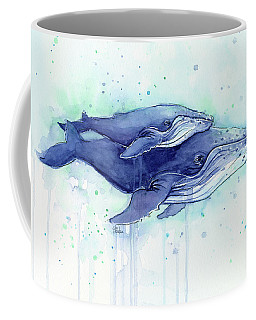 Humpback Whales Mom And Baby Watercolor Painting - Facing Right Coffee Mug