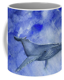 Humpback Yearling Under Our Boat Coffee Mug by Randy Sprout