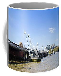 Coffee Mug featuring the photograph Hungerford Bridge And Golden Jubilee Bridges by Stewart Marsden