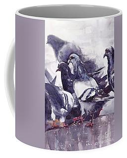 Hungry Pigeons Watercolor Coffee Mug