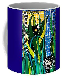 Hunter In Camouflage - Cat Art By Dora Hathazi Mendes Coffee Mug