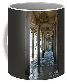 Coffee Mug featuring the photograph Huntington Beach Pier From Below by Ana V Ramirez