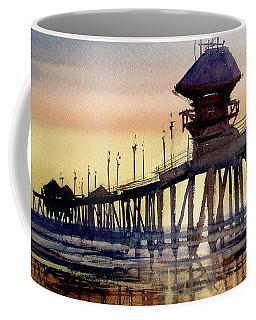 Coffee Mug featuring the painting Huntington Pier by Sandra Strohschein