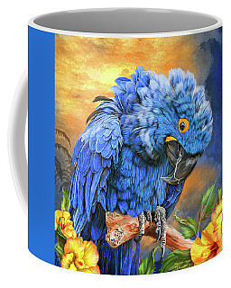 Coffee Mug featuring the mixed media Hyacinth Macaw by Carol Cavalaris