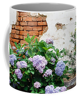 Hydrangea And Bricks Coffee Mug