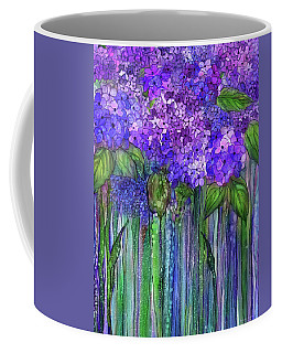 Coffee Mug featuring the mixed media Hydrangea Bloomies 1 - Purple by Carol Cavalaris