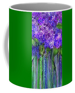 Coffee Mug featuring the mixed media Hydrangea Bloomies 2 - Purple by Carol Cavalaris
